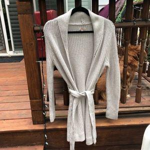 Merona long cardigan sweater with belt in oatmeal